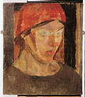 painting Portrait of Vanessa Bell wearing a red handkerchief on her head [Click here to see more information about this item]