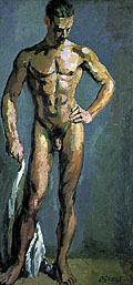 painting Standing male nude - Study of Tony Asserati [Click here to see more information about this item]